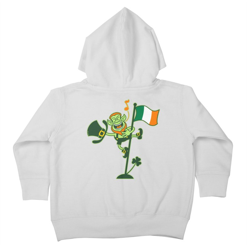 Saint Patrick's Day Leprechaun climbing an Irish flag pole and singing Kids Toddler Zip-Up Hoody by Zoo&co's Artist Shop