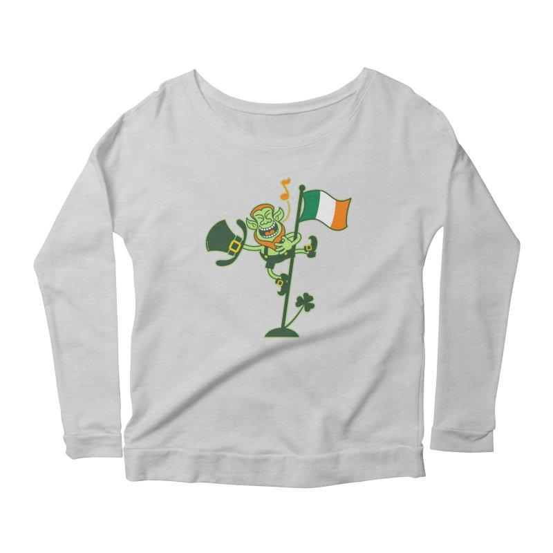 Saint Patrick's Day Leprechaun climbing an Irish flag pole and singing Women's Longsleeve T-Shirt by Zoo&co's Artist Shop