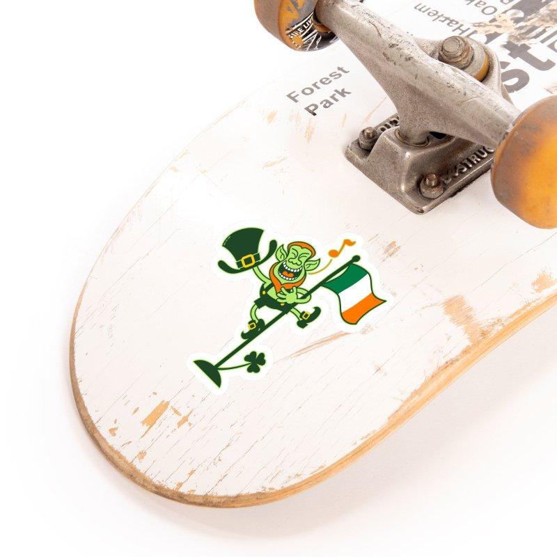 Saint Patrick's Day Leprechaun climbing an Irish flag pole and singing Accessories Sticker by Zoo&co's Artist Shop