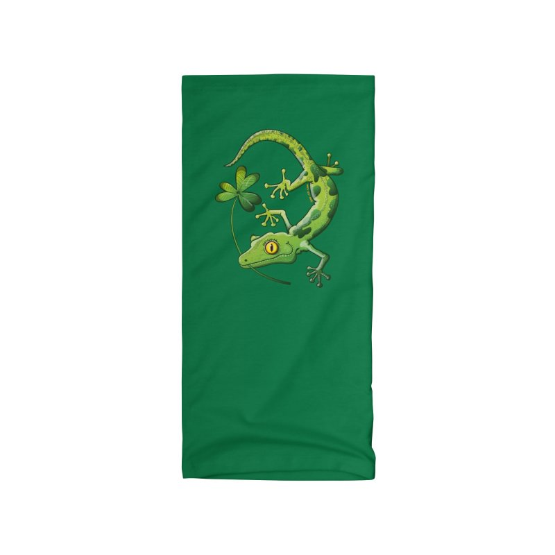 Saint Patrick's Day gecko holding in mouth a shamrock clover Accessories Neck Gaiter by Zoo&co's Artist Shop