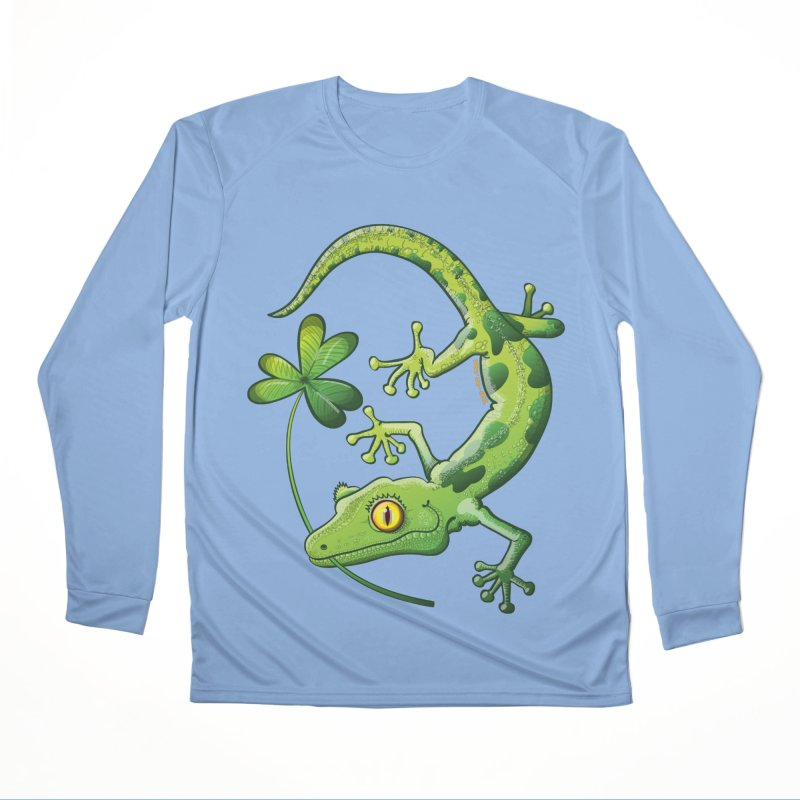 Saint Patrick's Day gecko holding in mouth a shamrock clover Women's Longsleeve T-Shirt by Zoo&co's Artist Shop