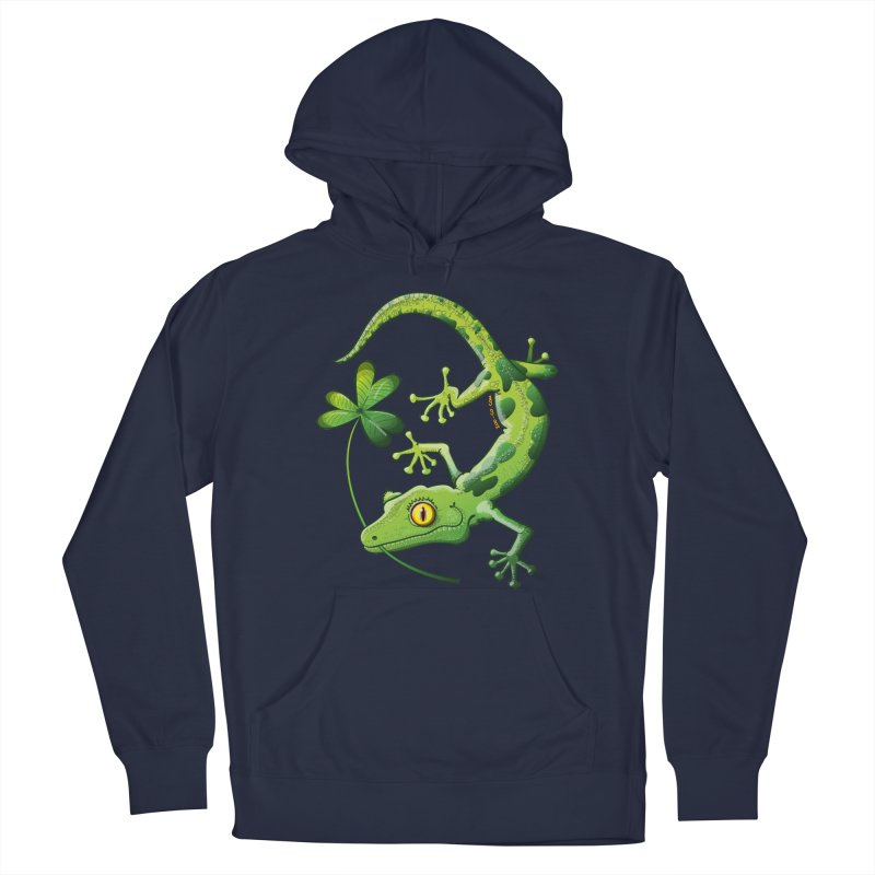 Saint Patrick's Day gecko holding in mouth a shamrock clover Men's Pullover Hoody by Zoo&co's Artist Shop