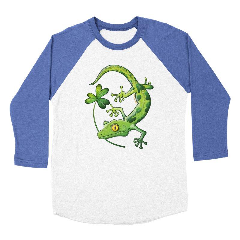 Saint Patrick's Day gecko holding in mouth a shamrock clover Women's Longsleeve T-Shirt by Zoo&co's Artist Shop