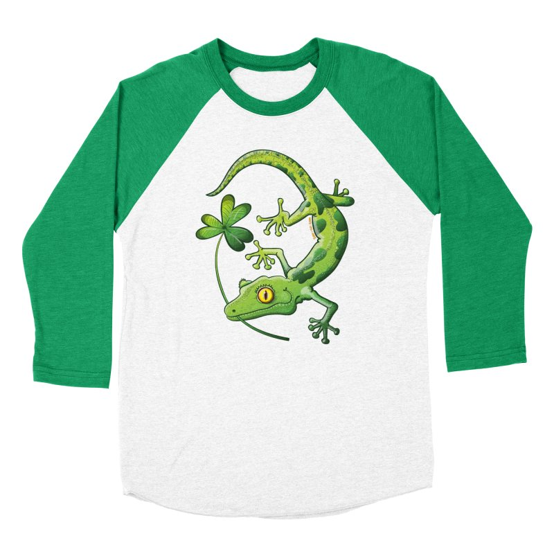 Saint Patrick's Day gecko holding in mouth a shamrock clover Men's Longsleeve T-Shirt by Zoo&co's Artist Shop