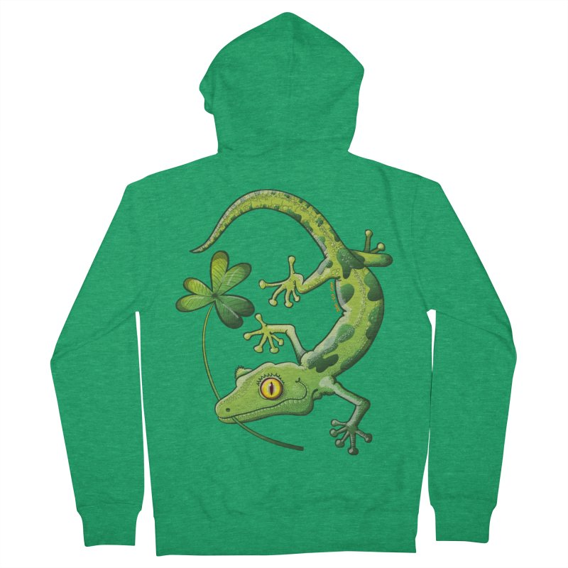 Saint Patrick's Day gecko holding in mouth a shamrock clover Women's Zip-Up Hoody by Zoo&co's Artist Shop