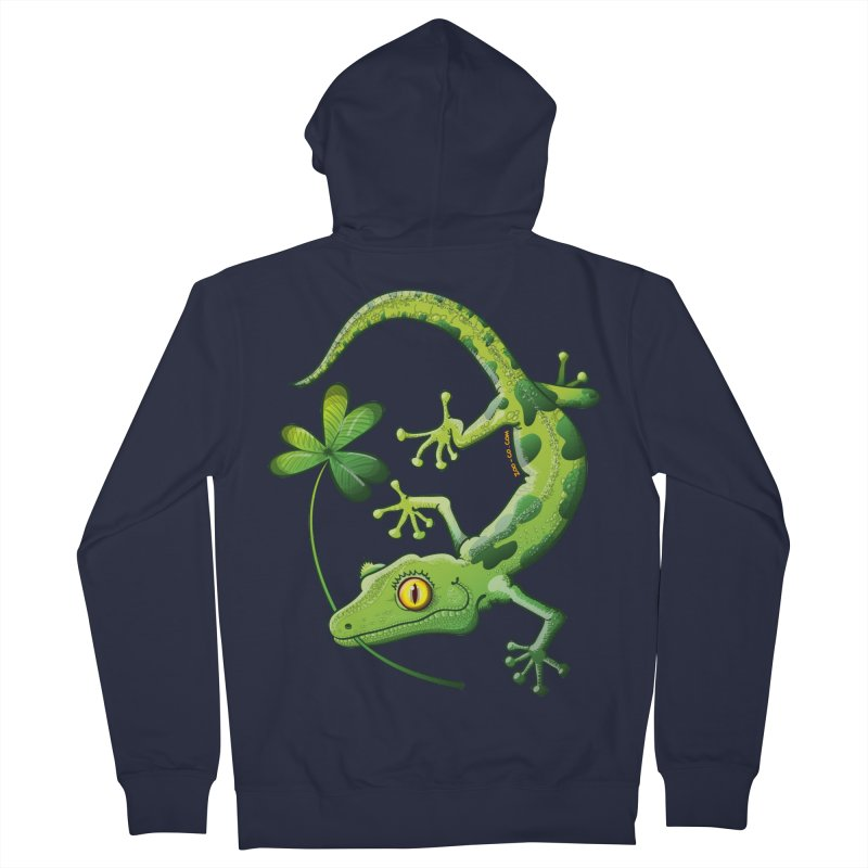 Saint Patrick's Day gecko holding in mouth a shamrock clover Men's Zip-Up Hoody by Zoo&co's Artist Shop