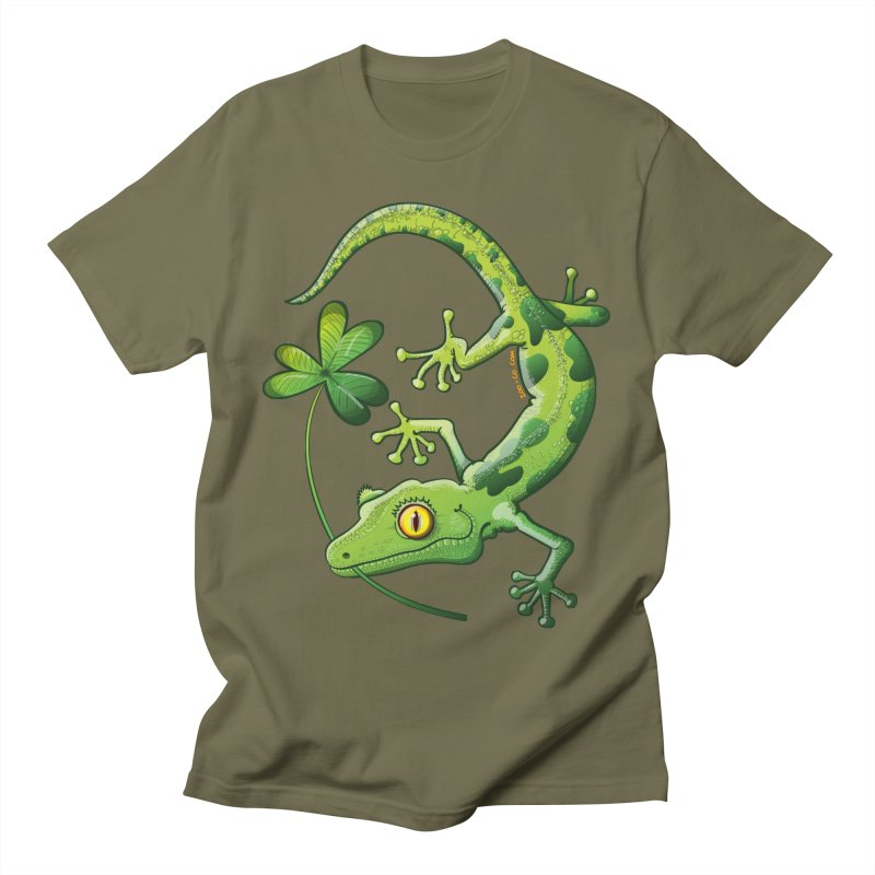 Saint Patrick's Day gecko holding in mouth a shamrock clover Women's T-Shirt by Zoo&co's Artist Shop