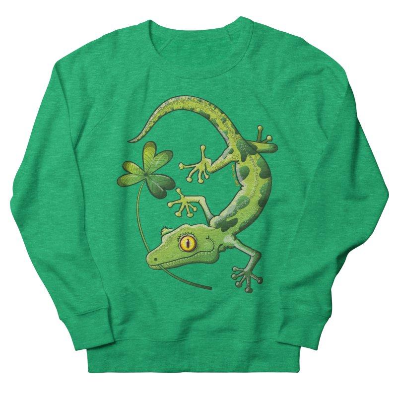 Saint Patrick's Day gecko holding in mouth a shamrock clover Women's Sweatshirt by Zoo&co's Artist Shop