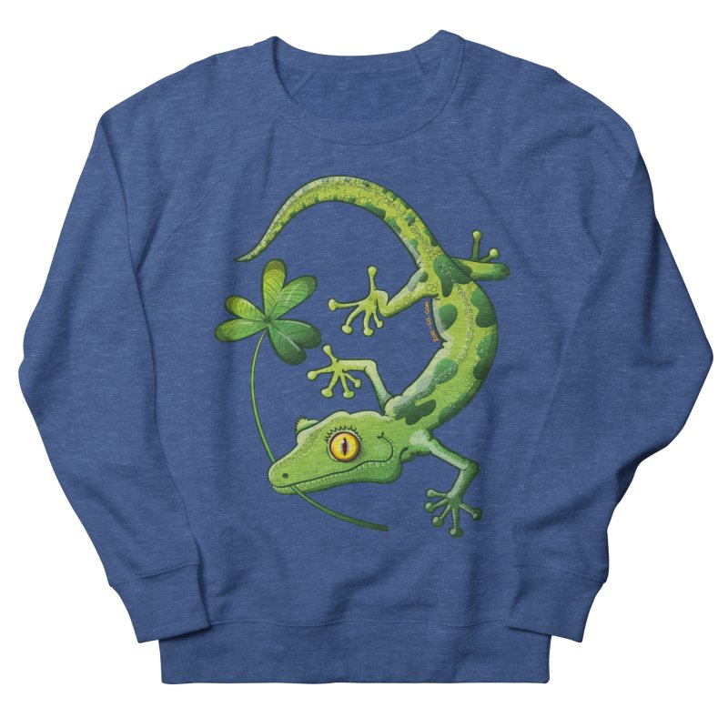 Saint Patrick's Day gecko holding in mouth a shamrock clover Men's Sweatshirt by Zoo&co's Artist Shop