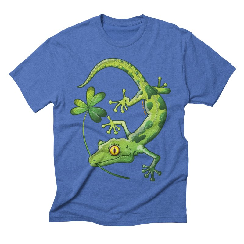 Saint Patrick's Day gecko holding in mouth a shamrock clover Men's T-Shirt by Zoo&co's Artist Shop