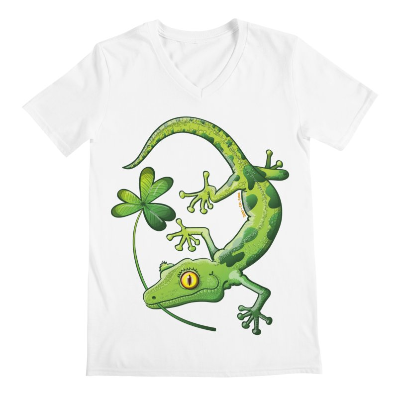 Saint Patrick's Day gecko holding in mouth a shamrock clover Men's V-Neck by Zoo&co's Artist Shop