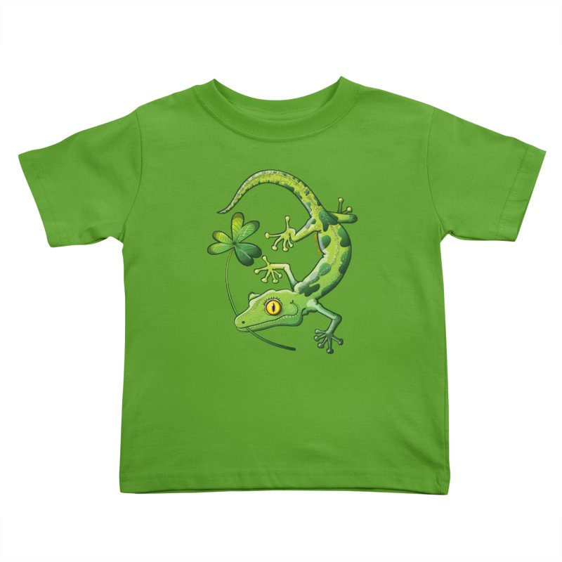 Saint Patrick's Day gecko holding in mouth a shamrock clover Kids Toddler T-Shirt by Zoo&co's Artist Shop