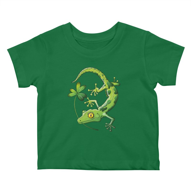 Saint Patrick's Day gecko holding in mouth a shamrock clover Kids Baby T-Shirt by Zoo&co's Artist Shop