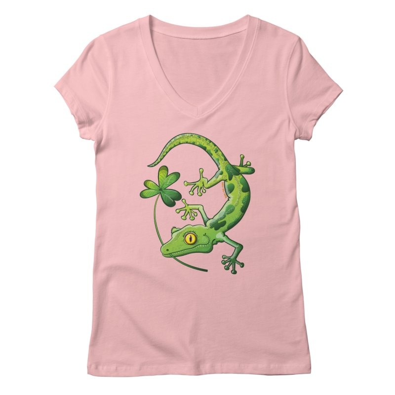 Saint Patrick's Day gecko holding in mouth a shamrock clover Women's V-Neck by Zoo&co's Artist Shop