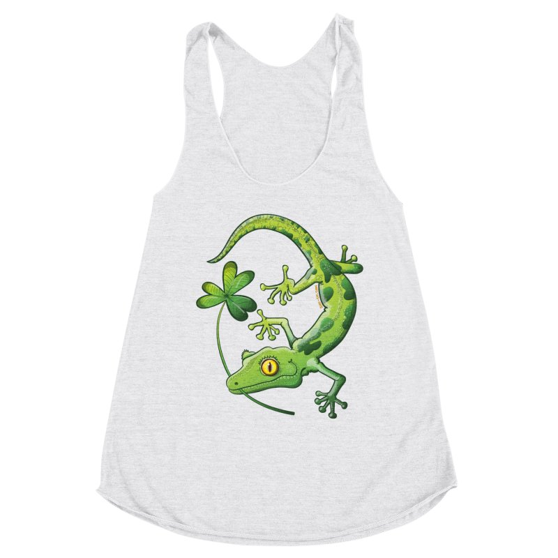 Saint Patrick's Day gecko holding in mouth a shamrock clover Women's Tank by Zoo&co's Artist Shop