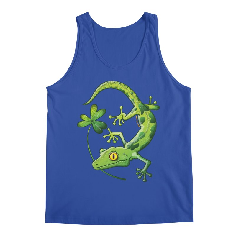 Saint Patrick's Day gecko holding in mouth a shamrock clover Men's Tank by Zoo&co's Artist Shop