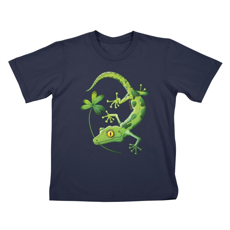 Saint Patrick's Day gecko holding in mouth a shamrock clover Kids T-Shirt by Zoo&co's Artist Shop