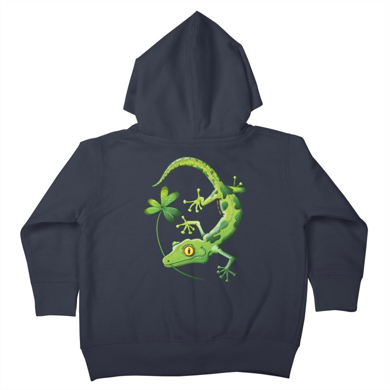 Saint Patrick's Day gecko holding in mouth a shamrock clover Kids Toddler Zip-Up Hoody by Zoo&co's Artist Shop