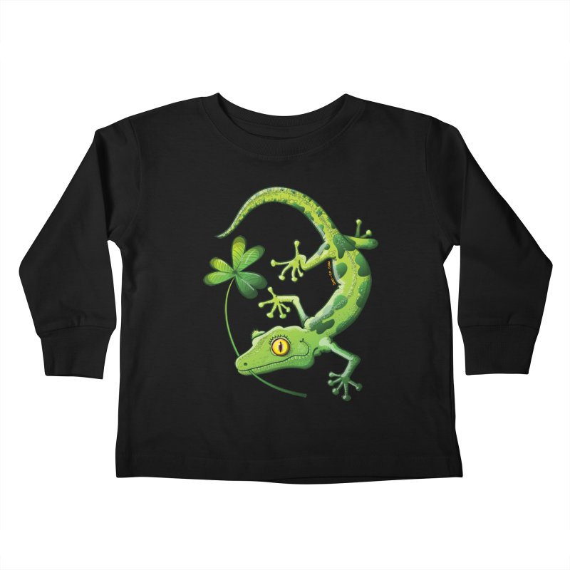 Saint Patrick's Day gecko holding in mouth a shamrock clover Kids Toddler Longsleeve T-Shirt by Zoo&co's Artist Shop