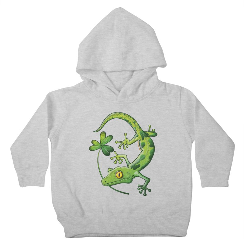 Saint Patrick's Day gecko holding in mouth a shamrock clover Kids Toddler Pullover Hoody by Zoo&co's Artist Shop