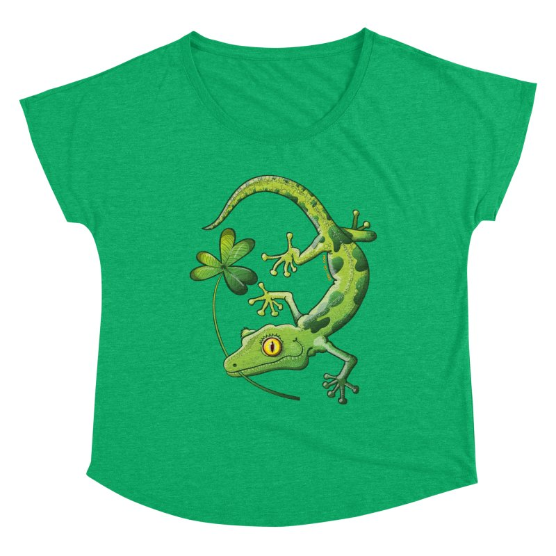 Saint Patrick's Day gecko holding in mouth a shamrock clover Women's Scoop Neck by Zoo&co's Artist Shop