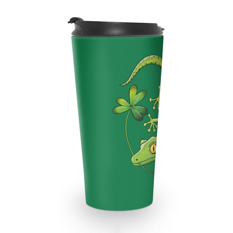 Saint Patrick's Day gecko holding in mouth a shamrock clover Accessories Mug by Zoo&co's Artist Shop