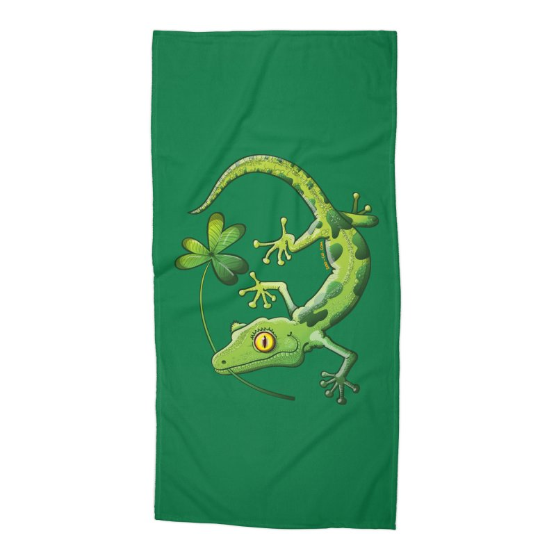 Saint Patrick's Day gecko holding in mouth a shamrock clover Accessories Beach Towel by Zoo&co's Artist Shop