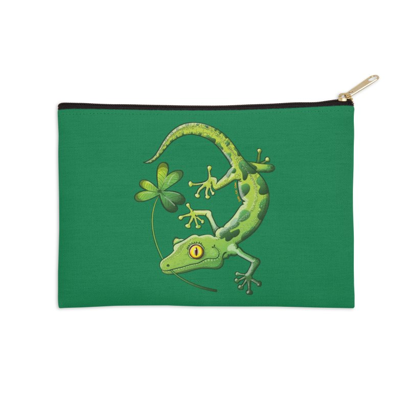 Saint Patrick's Day gecko holding in mouth a shamrock clover Accessories Zip Pouch by Zoo&co's Artist Shop