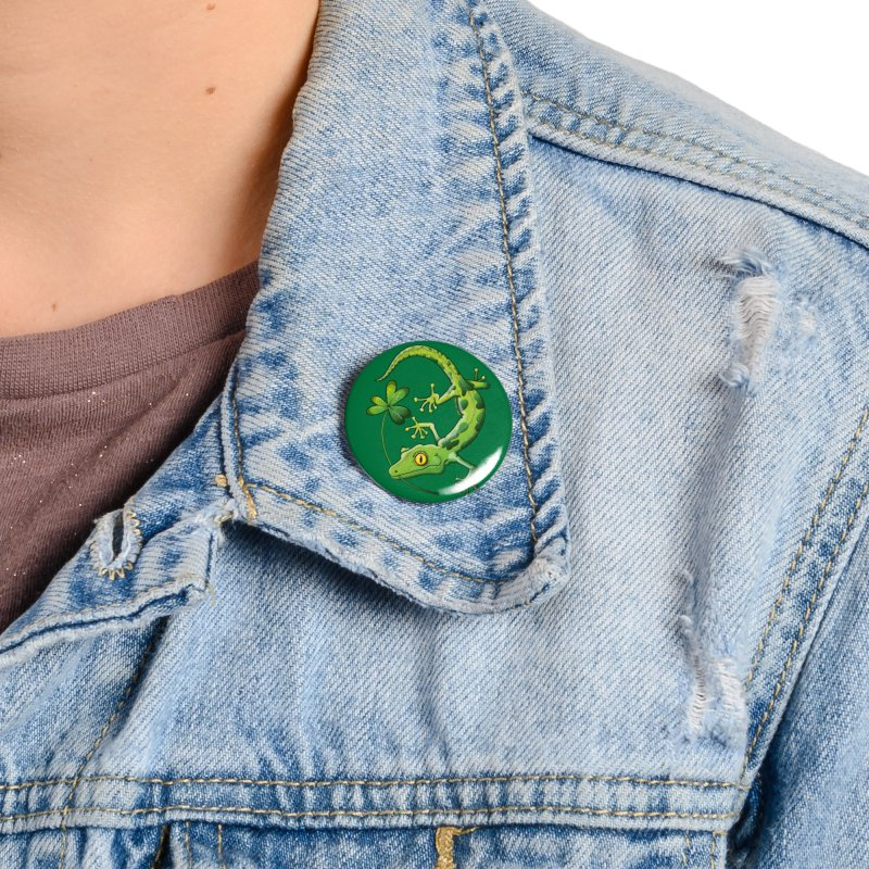 Saint Patrick's Day gecko holding in mouth a shamrock clover Accessories Button by Zoo&co's Artist Shop