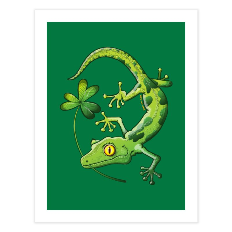 Saint Patrick's Day gecko holding in mouth a shamrock clover Home Fine Art Print by Zoo&co's Artist Shop