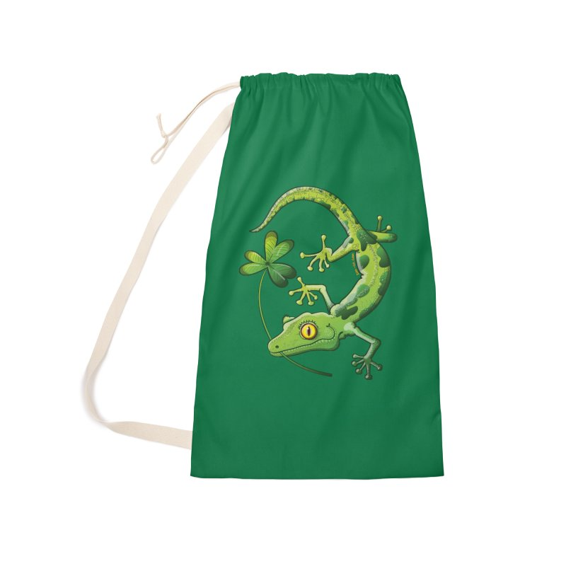 Saint Patrick's Day gecko holding in mouth a shamrock clover Accessories Bag by Zoo&co's Artist Shop