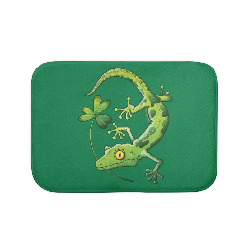 Saint Patrick's Day gecko holding in mouth a shamrock clover Home Bath Mat by Zoo&co's Artist Shop