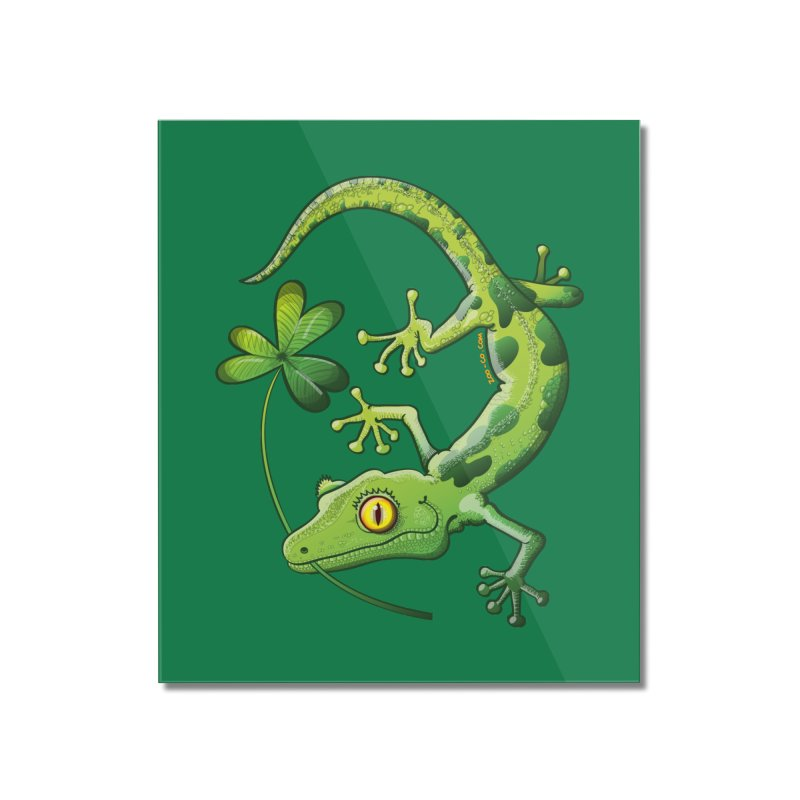 Saint Patrick's Day gecko holding in mouth a shamrock clover Home Mounted Acrylic Print by Zoo&co's Artist Shop