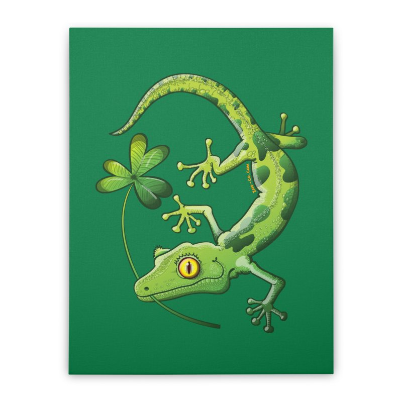 Saint Patrick's Day gecko holding in mouth a shamrock clover Home Stretched Canvas by Zoo&co's Artist Shop