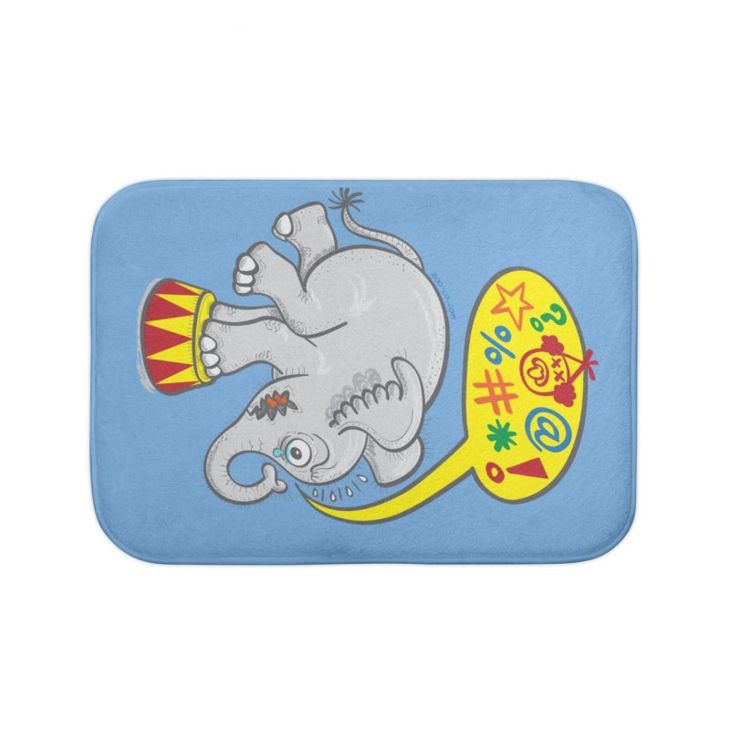 Circus elephant saying bad words Home Bath Mat by Zoo&co's Artist Shop