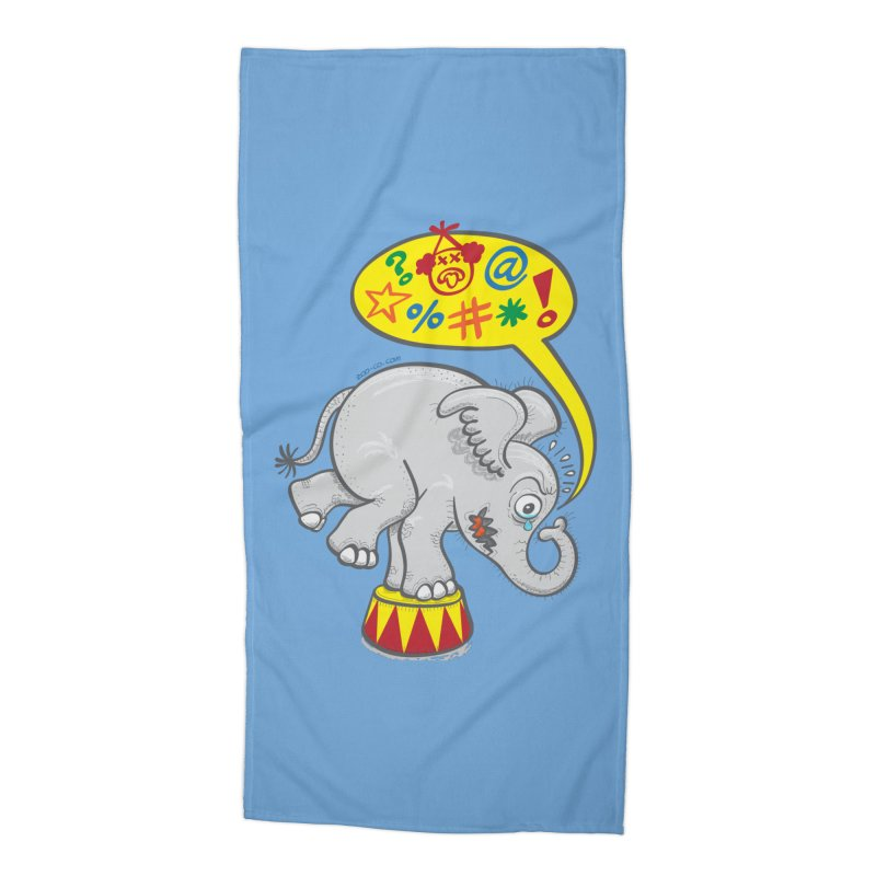 Circus elephant saying bad words Accessories Beach Towel by Zoo&co's Artist Shop