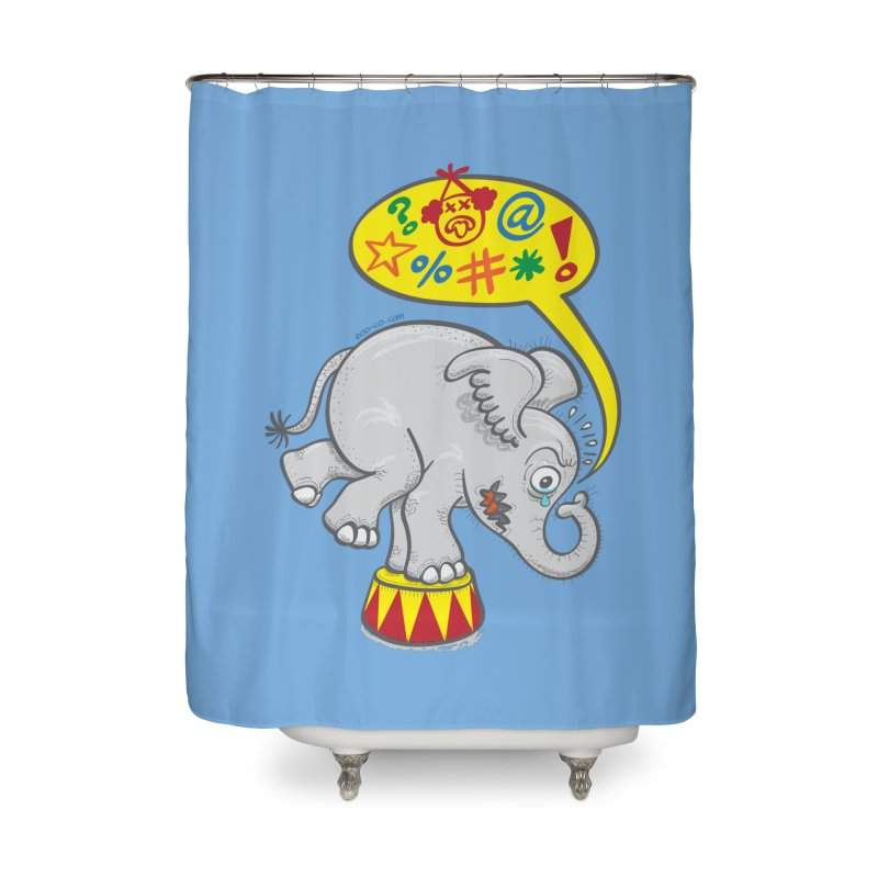 Circus elephant saying bad words Home Shower Curtain by Zoo&co's Artist Shop