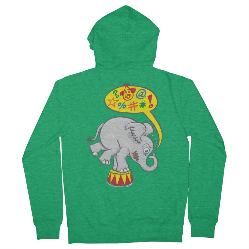 Circus elephant saying bad words Men's Zip-Up Hoody by Zoo&co's Artist Shop