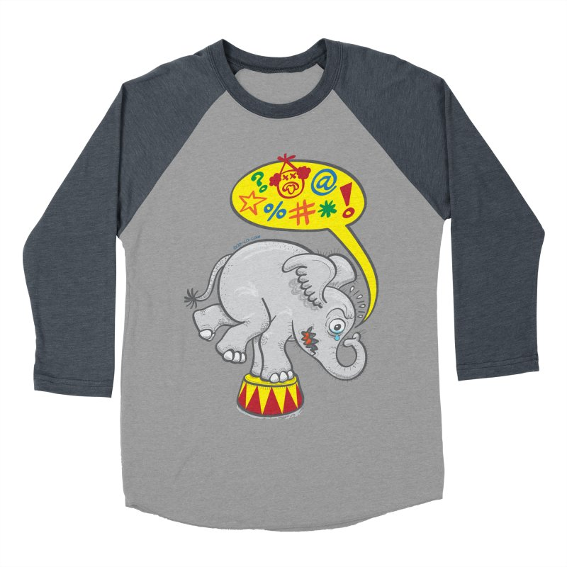 Circus elephant saying bad words Men's Baseball Triblend T-Shirt by Zoo&co's Artist Shop
