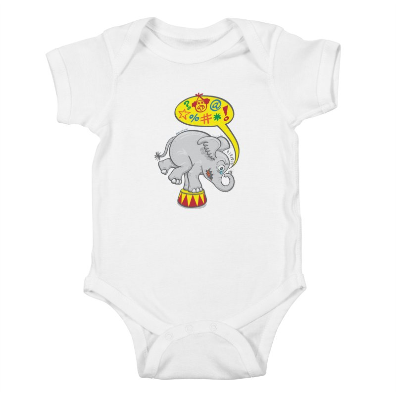 Circus elephant saying bad words Kids Baby Bodysuit by Zoo&co's Artist Shop
