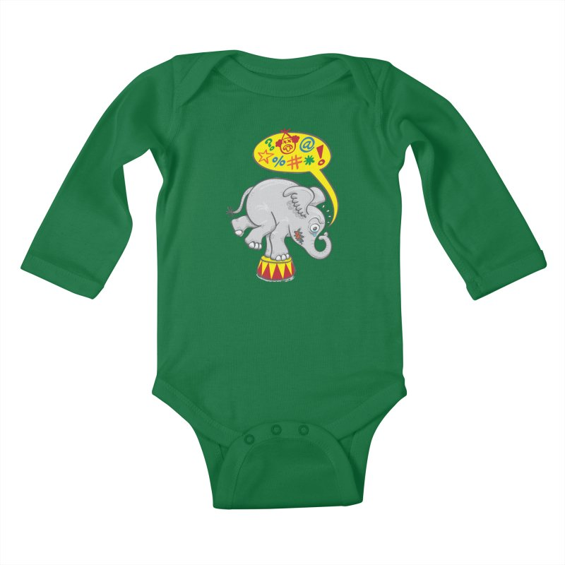 Circus elephant saying bad words Kids Baby Longsleeve Bodysuit by Zoo&co's Artist Shop