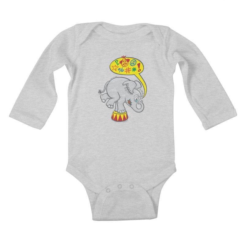 Circus elephant saying bad words Kids Baby Longsleeve Bodysuit by Zoo&co's Artist Shop