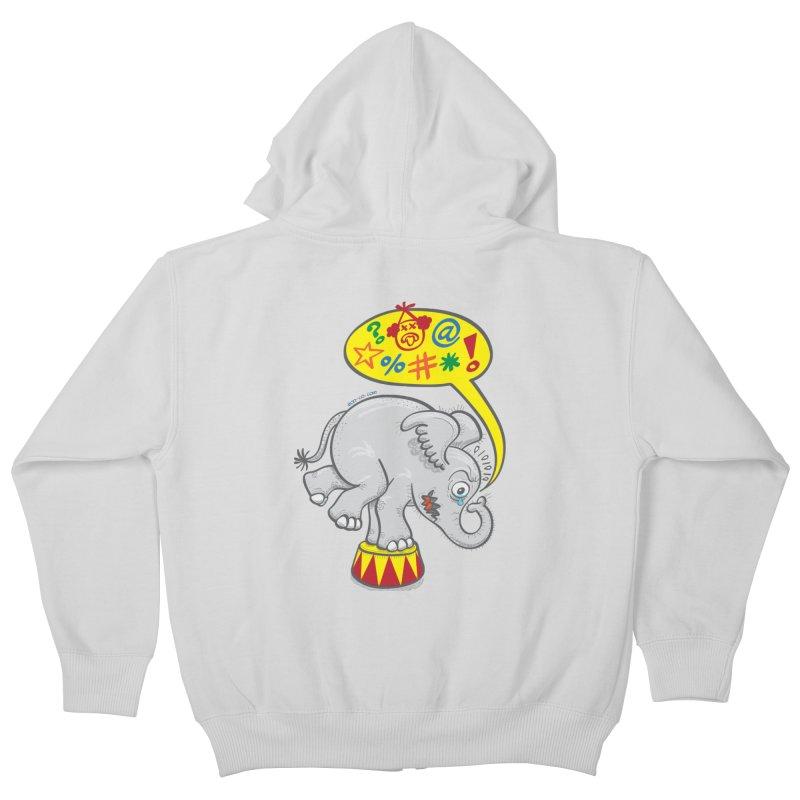 Circus elephant saying bad words Kids Zip-Up Hoody by Zoo&co's Artist Shop