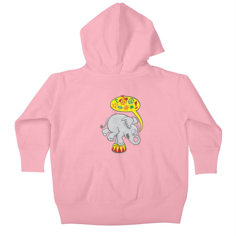 Circus elephant saying bad words Kids Baby Zip-Up Hoody by Zoo&co's Artist Shop