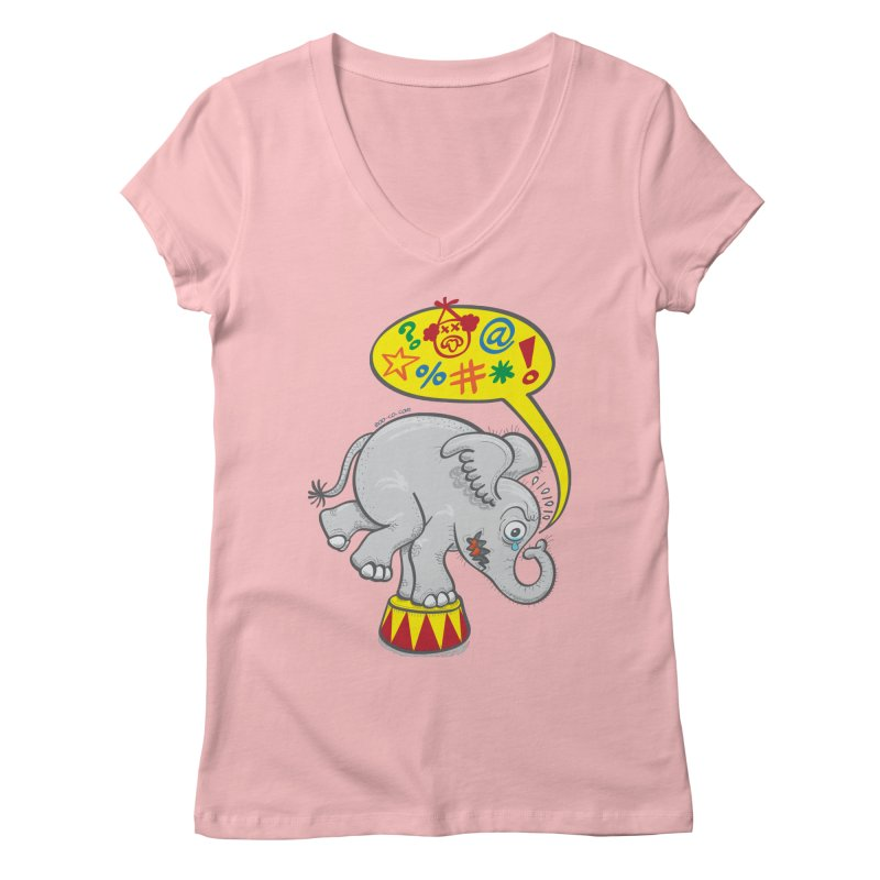 Circus elephant saying bad words Women's V-Neck by Zoo&co's Artist Shop