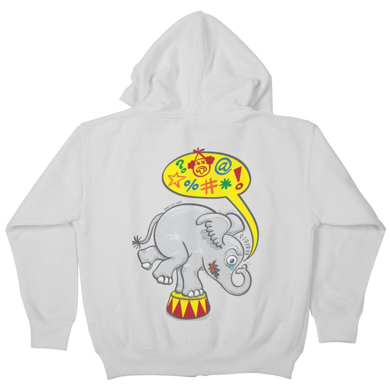 Circus elephant saying bad words Kids Zip-Up Hoody by Zoo&co's Artist Shop