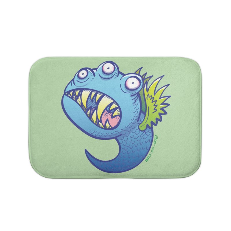 Terrific little winged blue monster Home Bath Mat by Zoo&co's Artist Shop
