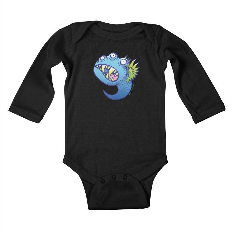 Terrific little winged blue monster Kids Baby Longsleeve Bodysuit by Zoo&co's Artist Shop