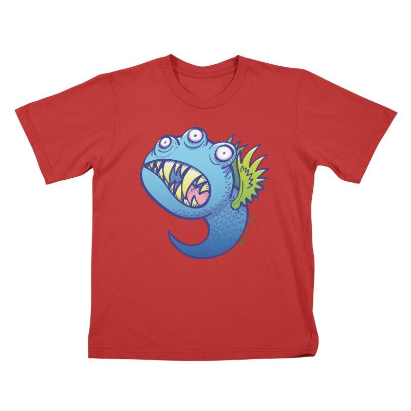 Terrific little winged blue monster Kids T-Shirt by Zoo&co's Artist Shop