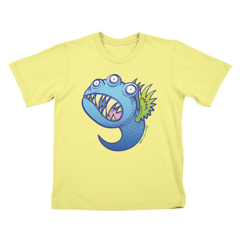 Terrific little winged blue monster Kids T-shirt by Zoo&co's Artist Shop